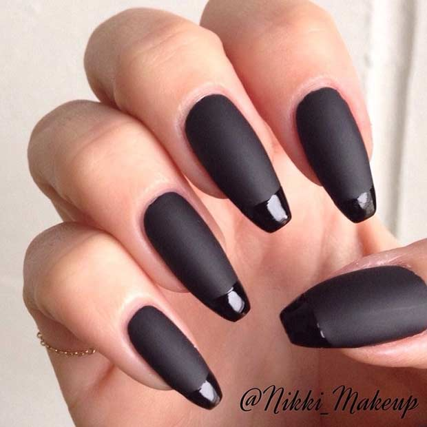 Black Matte French Tip